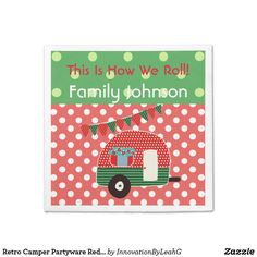 Retro Camper Partyware Red Green Personalized