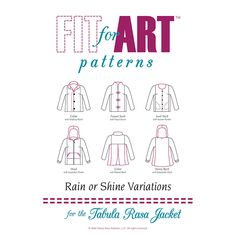 Patterns and instructions for converting your Tabula Rasa Jacket into a jacket or shirt with a center front closure.  Choose a funnel or jewel neckline and close it with a zipper or buttons and loo…