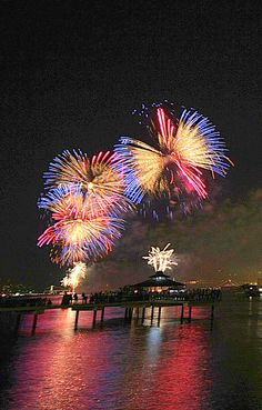 Photographed is the Macy's July 4 fireworks shot from Hoboken NJ.