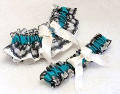 Wedding Garter Set Ivory Lace Teal Jade Black Crystal By Daisyclub 2900
