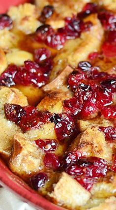Cranberry Bread Pudding with Honey Whiskey Maple Sauce