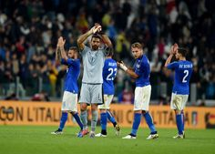 Gianluigi Buffon of Italy cheers the fans at the end of the FIFA 2018 World Cup Qualifier between Italy and Spain at Juventus Stadium on October 6, 2016 in Turin, Italy.