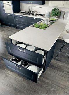 Super idée pour maximiser le rangement de sa cuisine en ilôt ! #decocrush