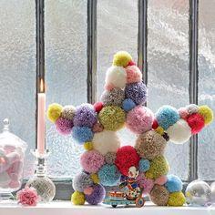 DIY étoile en laine pompons
