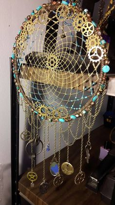 Authentic Native American Steam Punk Bronze and Teal Dream Catcher