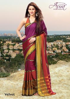 Sarees - Rich Velvet And Multi Color Exquisite Aura Silk Collections - Wedding / Party / Special Occasions Designer Sarees Online Shopping, Latest Designer Sarees, Designer Sarees Collection, Saree Collection, Saree Shopping, Handloom Saree, Fashion Seasons, Party Wear Sarees, Bollywood Celebrities