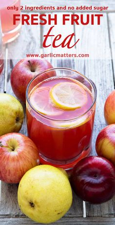Super healthy Fresh Fruit Tea recipe is a nonalcoholic, naturally sweet (refined sugar free), refreshing, vegan, kid friendly beverage made with only 2 ingredients: fresh fruit and water. Perfect in the Summer or Winter - it can be drunk hot, cold or anyt