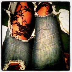 I love it if I have jeans with holes this will be the how I wear them