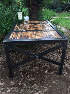Wood coffee table Industrial style table