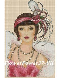 GRATIS UK P /& P. .. Cross stitch chart Art deco Lady 176 DMC-Flowerpower 37-UK
