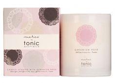 merci boxed scented candle- geranium rose - hardtofind.