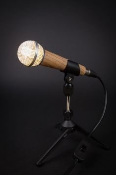 Wooden Microphone Desk Lamp by MicrophoneMania on Etsy