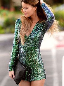 Green Sequins Party Dress Perfect New Years Dress