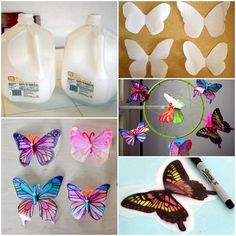 Butterflies from recycled bottles! Reuse Plastic Bottles, Plastic Bottle Flowers, Plastic Bottle Crafts, Recycled Bottles, Recycled Crafts, Plastic Art, Butterfly Decorations, Butterfly Crafts, Crafts To Do