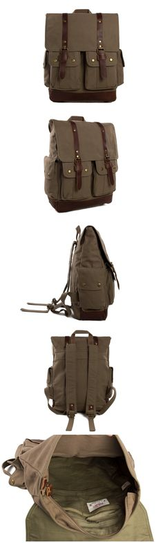 Waxed Canvas Leather Backpack, Casual Canvas Backpack School Backpack College Backpack