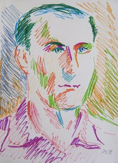"Pablo Felipe Villegas Mañé ""Retrato II"" Drypen sobre papel  34 x 25 cm. Año 1974  Firmado abajo a la derecha  http://www.portondesanpedro.com/ver-producto.php?id=12217"