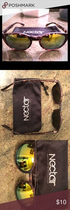 Nectar: Sunglasses The frame is tortoise shell and is curved at the ends to ensure they won't slip off. The polarized lenses are made from a polycarbonate to ensure clarity and that they are resistance to impact.  Polarized  Durable polycarbonate frame made to take a beating  Optimum impact resist frame material  Stainless steel optical hinges Impact resistant polycarbonate lenses for maximum strength  Scratch resistant film over all lenses  Glare reduction  Flexible thermoplastic memory…