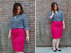 Black and White Gingham, Pink Pencil Skirt, Black Flats   http://www.justjacq.com/2015/06/15/black-and-white-gingham-pink-pencil-skirt-black-flats/