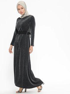 b110021f2d896 Black - Unlined - Crew neck - Muslim Evening Dress