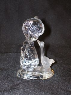 SJ Butcher 24% Lead Crystal Glass Girl and Frosted Goose / Duck Figurine Made in Germany 1990  by GarageSaleGlass, $14.99