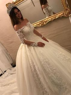 Luxury Wedding Dresses Lace Long Sleeves Princess Wedding Gowns Cheap … – Rebel Without Applause Luxury Wedding Dress, Long Wedding Dresses, Princess Wedding Dresses, Tulle Wedding, Cheap Wedding Dress, Bridal Dresses, Wedding Gowns, Backless Wedding, Wedding Dress Sleeves