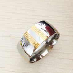 Large Luxury Exaggerated 8mm Greek Key  gold silver rings men women 316L Titanium stainless steel men wedding wide Rings