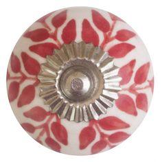 Porseleinen meubelknop wit rode blaadjes