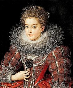Young Elizabeth of France by Frans Pourbus the Younger (Prado)Wearing a slashed skirt and slashed sleeves, a large lace-trimmed ruff