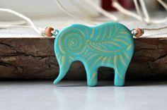 Pendant Elephant, Handpainted, Blue White, Green, Boho Handmade, Africa, Casual, Gift Idea, One of kind, Elephant jewelry, Elephant Necklace