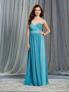 Alfred Angelo Style 7376L: draped color mix long floor length bridesmaid dress with a sweetheart neckline