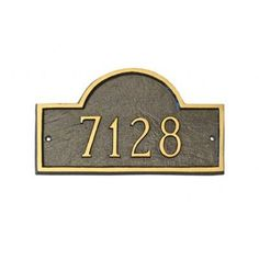 Montague Metal Products Petite Classic Arch Address Plaque Finish: Sea Blue / Silver, Mounting: Lawn