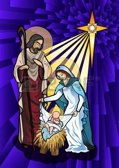 illustration of the holy family of the nativity or birth of Jesus created as stained glass photo