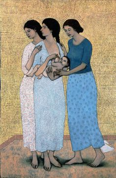 Mother and Child with Companions (2003) by Brian Kershisnik (b. 1962), American - (briankershisnik)