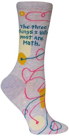 Take your desire to buy these socks, add in the great price, subtract any inhibition, multiply the likeness by your mood, and there you have it. The answer is easy as pi: these colorful socks were mad Silly Socks, Crazy Socks, Cute Socks, My Socks, Blue Q Socks, I Hate Math, Socks World, Nora, Gamine Style