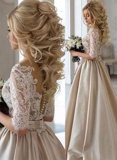 Custom Made Distinct Prom Dresses 2019 Sexy Prom Dress A-Line Scoop Half Sleeve Short Train Satin Lace Evening Dress Bridal Hair, Bridal Gowns, Wedding Gowns, Hair Wedding, Wedding Dressses, Wedding Shoes, Wedding Venues, Wedding Ideas, Prom Dresses With Sleeves