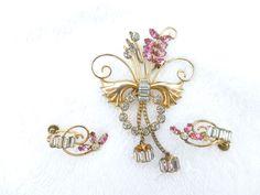 Signed DeCurtis 1/20 12K GF rhinestone dangle brooch with earrings set Q7 #DeCurtis