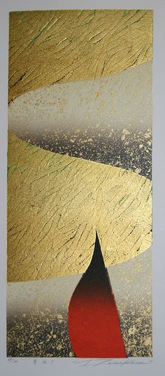 TAMEKANE Yoshikatsu 2005. On the Shore, Gold leaf and ink on paper. #ContemporaryJapaneseArt