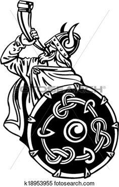 nordique, viking, -, vecteur, illustration., Vinyl-ready. Voir Clipart Grand Format