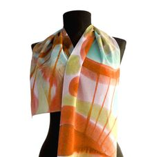 Abstract silk scarf in earth colors. Handpainted by AHouseAtelier