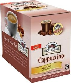 Grove Square Cappuccino Cups, Hazelnut, Single Serve Cup for Keurig K-Cup Bre...