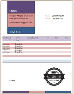Carpet Cleaning Invoice Template 10 Business Professional