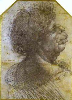 Leonardo Da Vinci-fratzenhaft porträt studie von Mann im