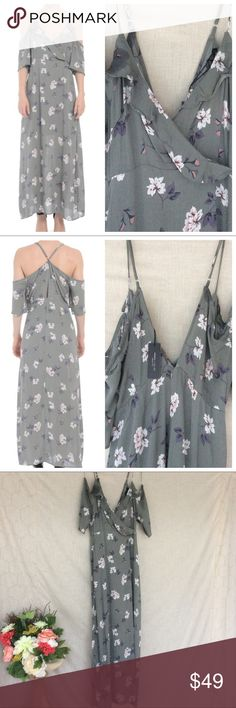 """Romeo & Juliet Couture Maxi Sage floral maxi dress with cold shoulder and adjustable straps. Lined to above knee. Approximately 60"""" long.  >Condition: New  🚫 No Trades ✅ Discounted Bundles ✅ Reasonable Offers Romeo & Juliet Couture Dresses Maxi"""