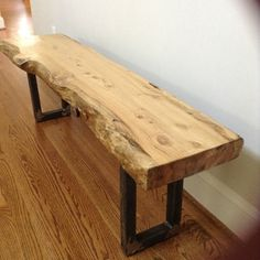 Custom Made Rustic Live Edge Wood/Metal Log Benches