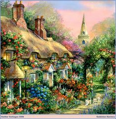 This Thomas Kinkade painting reminds me of England. Belle Image Nature, Jim Mitchell, Thomas Kinkade Art, Kinkade Paintings, Thomas Kincaid, Art Thomas, Cottage Art, Storybook Cottage, Beautiful Paintings