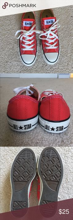Converse Chuck Taylor All Stars Red size women's 9 Chuck Taylor All Stars red. 👣Worn 1x for a Cupid costume. No trades. Paying off student loans! 😒 questions? Please ask! Converse Shoes Sneakers