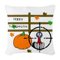 Happy Thanksgiving Day Woven Throw Pillow