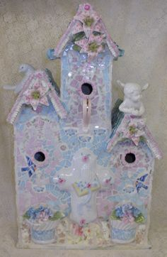 SWEET RETWEET shabby chic etsy art mosaic broken china stained glass large triple birdhouse indoor or outdoor. via Etsy.