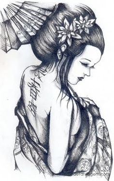 Geisha by on Tattoos Masculinas, Bild Tattoos, Asian Tattoos, Tattoo Drawings, Tatoo Geisha, Geisha Art, Geisha Tattoos, Full Back Tattoos, Full Body Tattoo