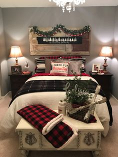 Awesome 10 Amazing Christmas Bedroom Decor Ideas for Wonderful Bedroom goodsgn. : Awesome 10 Amazing Christmas Bedroom Decor Ideas for Wonderful Bedroom goodsgn. Farmhouse Christmas Decor, Rustic Christmas, Christmas Bedroom Decorations, Christmas Bedding, Farmhouse Decor, Cabin Christmas Decor, Farmhouse Style, Vintage Christmas, Tree Decorations